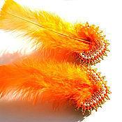 """Украшения ручной работы. Ярмарка Мастеров - ручная работа Клипсы с перьями """"clips with feathers"""" оранжевые. Handmade."""