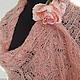 Палантин `Мадли`  вязаный, ажурный, альпака, кремово-розовый