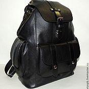 """Черный кожаный рюкзак """"Самурай"""""""