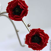Украшения handmade. Livemaster - original item Clips red Poppies,Oriental poppies,polymer clay.Earrings with poppies.. Handmade.
