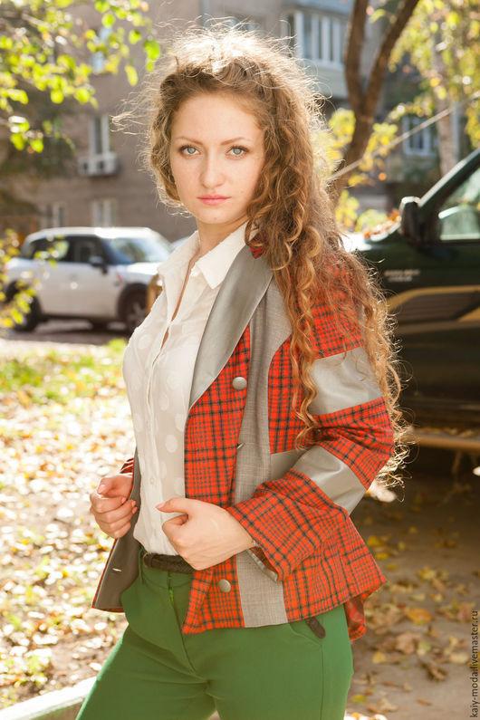 """Пиджаки, жакеты ручной работы. Ярмарка Мастеров - ручная работа. Купить Пиджак """"Осень в серо-красных тонах..."""". Handmade."""