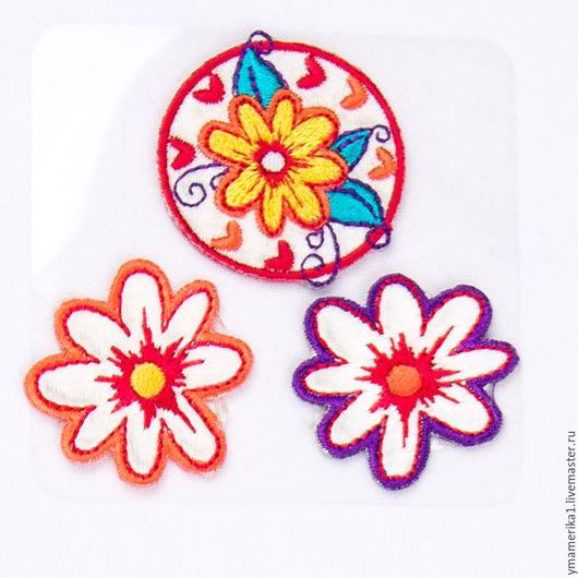 1.термонаклейка, термоаппликация цветочки, отделка одежды  аппликация на ткани, детская одежда 066.0053