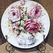 Винтаж ручной работы. Ярмарка Мастеров - ручная работа Декоративная тарелочка с букетом роз, Англия. Handmade.