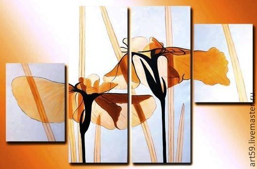"""Картины цветов ручной работы. Ярмарка Мастеров - ручная работа. Купить """" Солнечные цветы """". Handmade. Бежевый"""