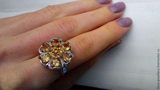 """Кольца ручной работы. Ярмарка Мастеров - ручная работа. Купить """"Мелания""""-роскошное кольцо с бразильскими цитринами. Handmade. Желтый"""