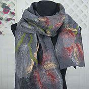 Аксессуары handmade. Livemaster - original item Women`s felted scarf wool felted scarf gray beautiful. Handmade.
