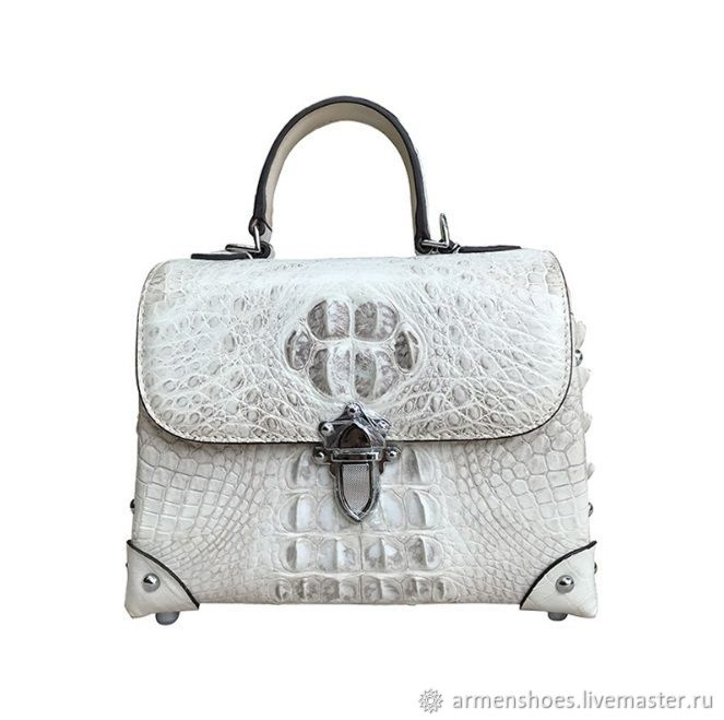 Women's handbag, made of a raised part of crocodile skin, in a milky color, Classic Bag, Tosno,  Фото №1