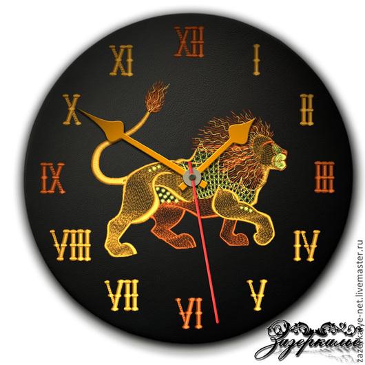 """Часы для дома ручной работы. Ярмарка Мастеров - ручная работа. Купить Часы из натуральной кожи """"Лев"""". Handmade. Часы интерьерные"""