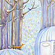 Фантазийные сюжеты ручной работы. Заказать Предчувствие весны. Мария   Fishangler. Ярмарка Мастеров. Картина в подарок, настроение, голубой, лиса