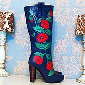 """Обувь ручной работы. Ярмарка Мастеров - ручная работа Сапоги """"Маки"""". Handmade."""