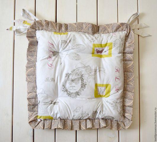 Текстиль, ковры ручной работы. Ярмарка Мастеров - ручная работа. Купить Подушка на стул хлопок. Handmade. Белый, подушка декоративная