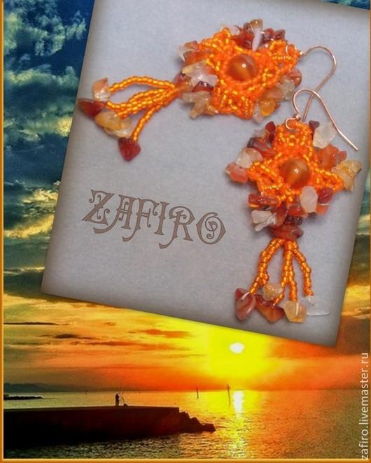 """Серьги ручной работы. Ярмарка Мастеров - ручная работа. Купить Яркие серьги """"Оранжевое солнце"""" с сердоликом. Handmade. Оранжевый"""