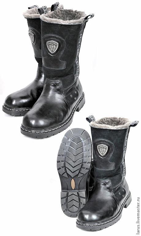 Обувь ручной работы. Ярмарка Мастеров - ручная работа. Купить Мужские угги. Handmade. Черный, кожа натуральная