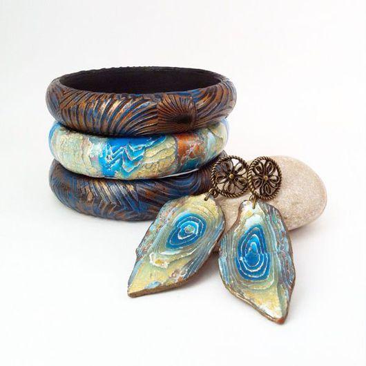 Комплекты украшений ручной работы. Ярмарка Мастеров - ручная работа. Купить Комплект браслетов и серьги из полимерной глины СКАЗКА О ВОДЕ. Handmade.