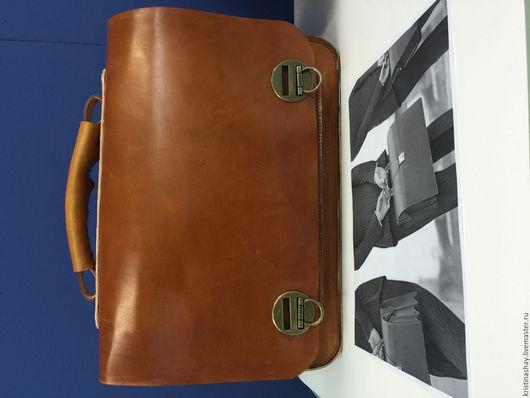 Мужские сумки ручной работы. Ярмарка Мастеров - ручная работа. Купить портфель мужской. Handmade. Коричневый, готовая работа