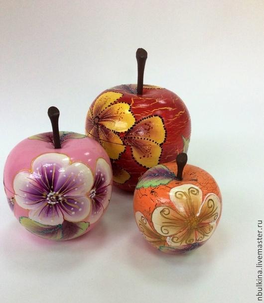 """Шкатулки ручной работы. Ярмарка Мастеров - ручная работа. Купить Шкатулочки """" Яблочный цвет"""". Handmade. Разноцветный, Роспись по дереву"""