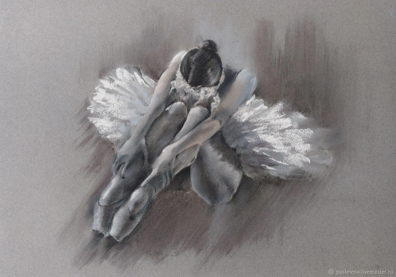 Балерина Пастель (графика уголь серый белый), Картины, Южноуральск,  Фото №1