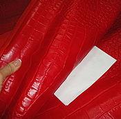 Материалы для творчества ручной работы. Ярмарка Мастеров - ручная работа Натуральная кожа-New! 1.1-1.2 мм Croco Red!. Handmade.