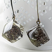Украшения handmade. Livemaster - original item Transparent earrings cubes with real cones from jewelry resin. Handmade.