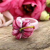 Кольца ручной работы. Ярмарка Мастеров - ручная работа Кольца Лилия - цветок лэмпворк lampwork branzuletka. Handmade.