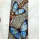 Ties & Bow Ties handmade. Tie men's silk batik 'morpho butterflies'. Kenaz silk (KENAZ). My Livemaster.