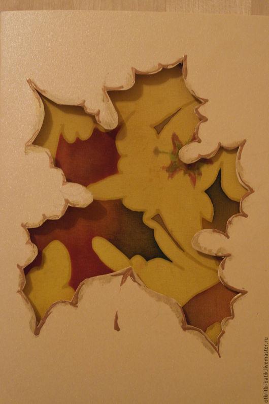 Открытки на все случаи жизни ручной работы. Ярмарка Мастеров - ручная работа. Купить Кленовые листья. Handmade. Желтый, открытка, Батик