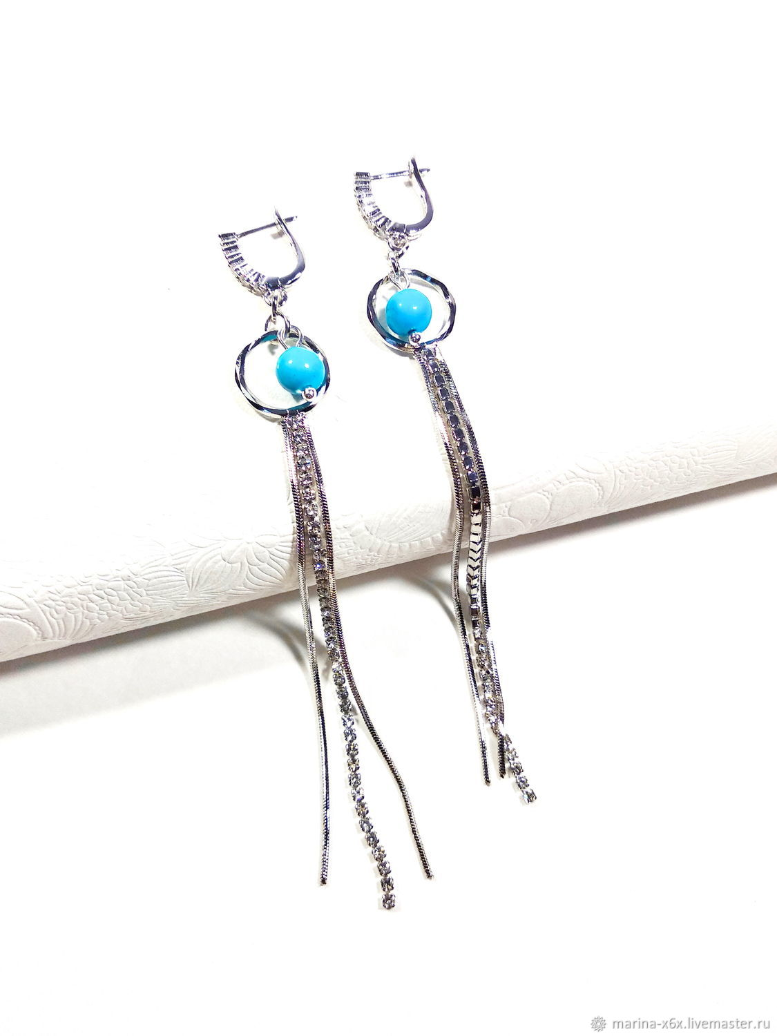 earrings with turquoise, Earrings, Moscow,  Фото №1