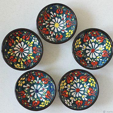 Посуда ручной работы. Ярмарка Мастеров - ручная работа Набор керамических соусниц (5 шт) (зелёные). Handmade.