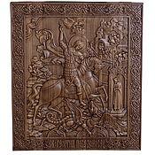 Картины и панно handmade. Livemaster - original item St. George icon carved from wood. Handmade.