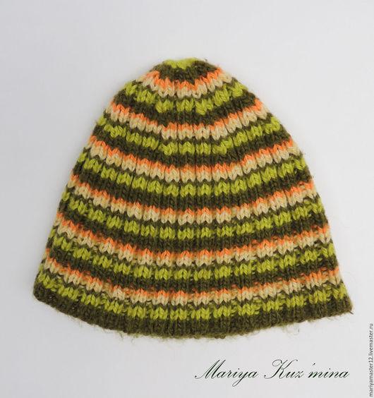 Шапки ручной работы. Ярмарка Мастеров - ручная работа. Купить Цветная полосатая шапка. Handmade. Комбинированный, полосатая, шапка осенняя