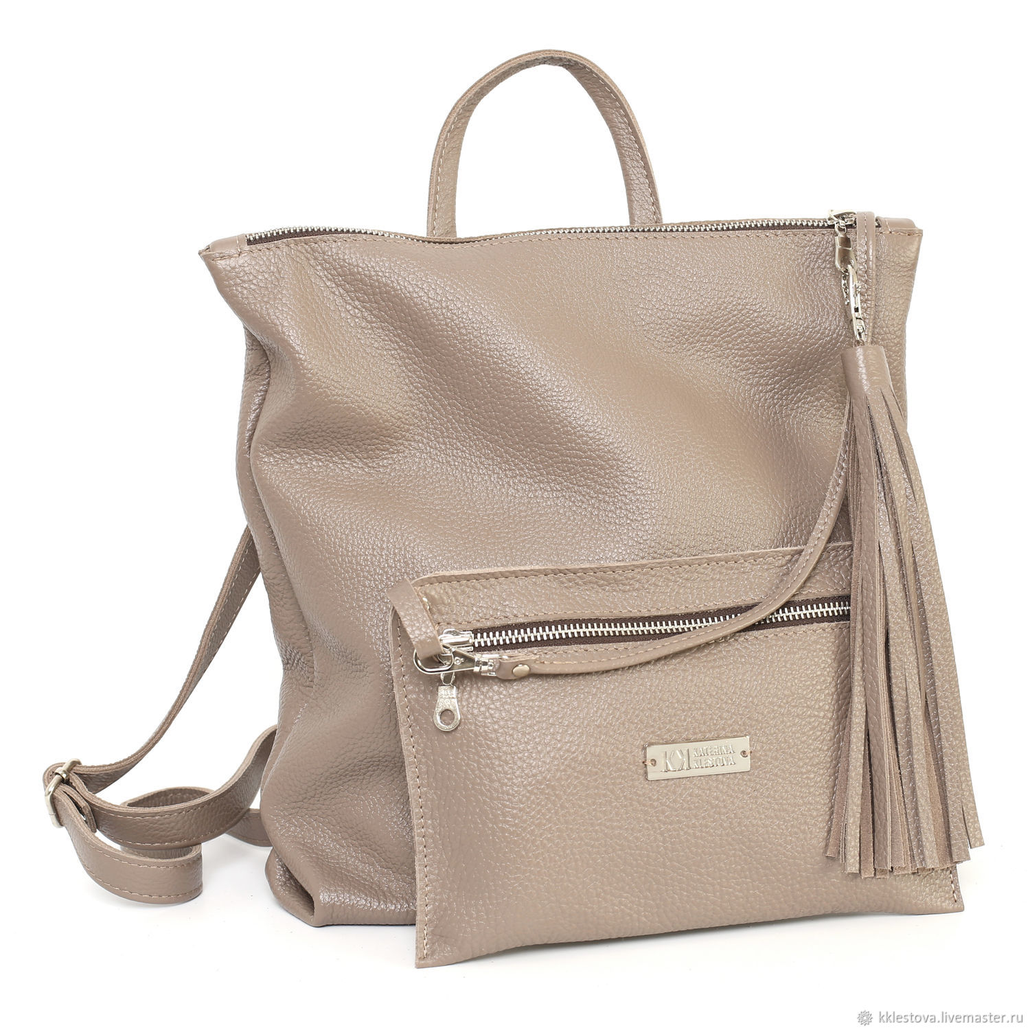 Backpacks handmade. Livemaster - handmade. Buy Cappuccino Urban backpack medium with pockets and cosmetic bag.Leather