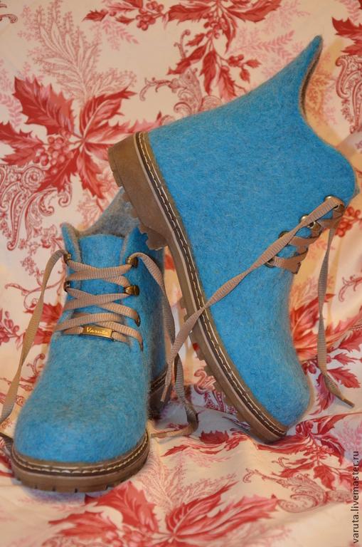 Обувь ручной работы. Ярмарка Мастеров - ручная работа. Купить Ботинки женские валяные Лагуна. Handmade. Морская волна, бергшаф