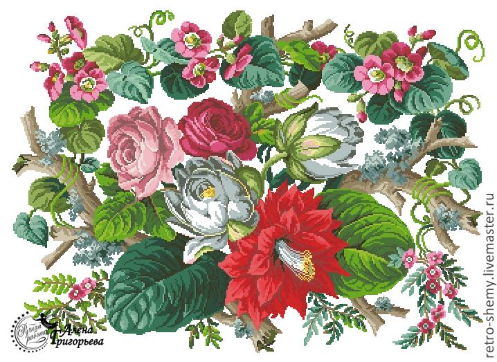 """Схема вышивки """"Водяные лилии""""."""