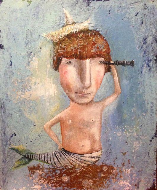 Люди, ручной работы. Ярмарка Мастеров - ручная работа. Купить Дочь моряка. Handmade. Комбинированный, море, русалка, девочка, кораблик
