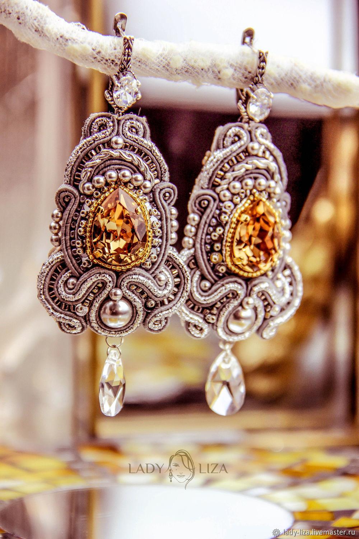 Eve's soutache earrings. color: Topaz in silver. soutache, Earrings, Zelenokumsk,  Фото №1