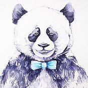 Картины и панно ручной работы. Ярмарка Мастеров - ручная работа Акварель Мишка Панда медведь. Handmade.