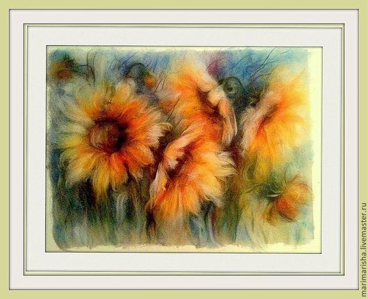 Картины цветов ручной работы. Ярмарка Мастеров - ручная работа. Купить Картина из шерсти Подсолнухи Фабио2. Handmade. Шерсть