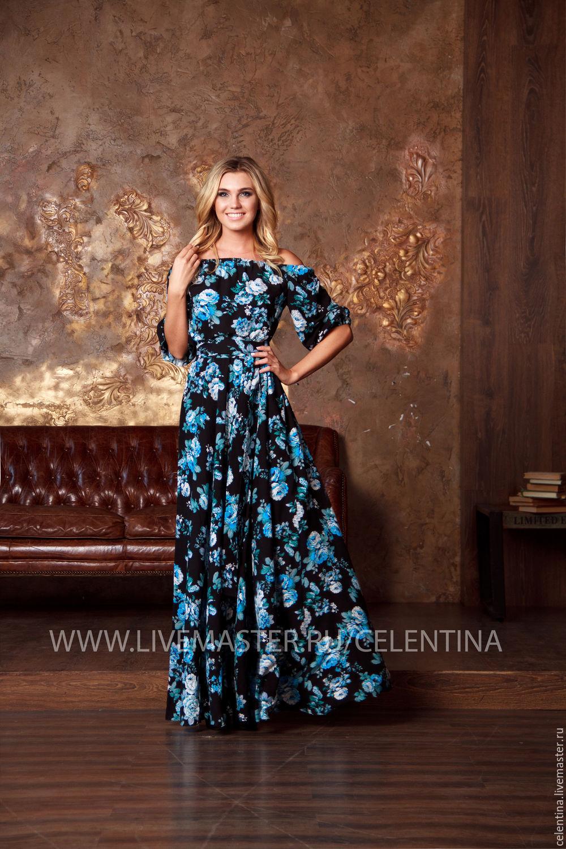 Синее платье крестьянка