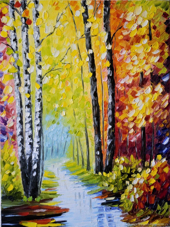 Картина маслом Осенний лес, работа Ольги Смирновой по мотивам работ Л. Афремова