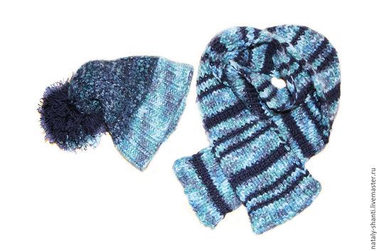 Шапки ручной работы. Ярмарка Мастеров - ручная работа. Купить Шапка и шарф. Handmade. Тёмно-синий, шарф, вязаная, акрил