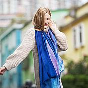 Аксессуары handmade. Livemaster - original item Cashmere Scarf Blue women shawl. Handmade.