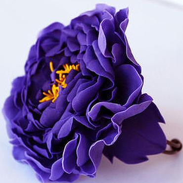 Украшения ручной работы. Ярмарка Мастеров - ручная работа Браслет цветок Браслет с фиолетовым пионом. Полимерная глина. Handmade.