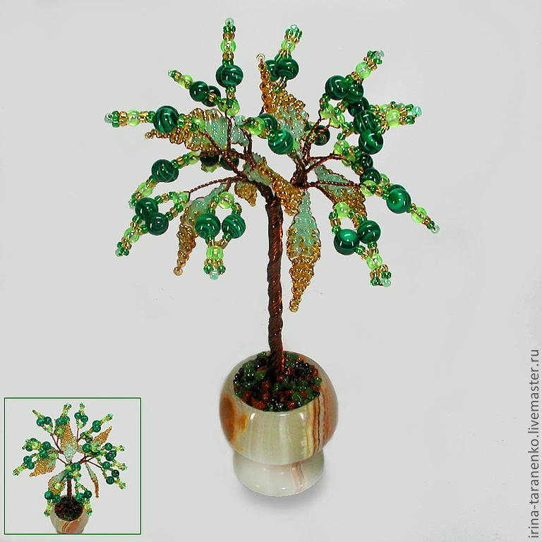 Miniature tree of happiness malachite vase in onyx