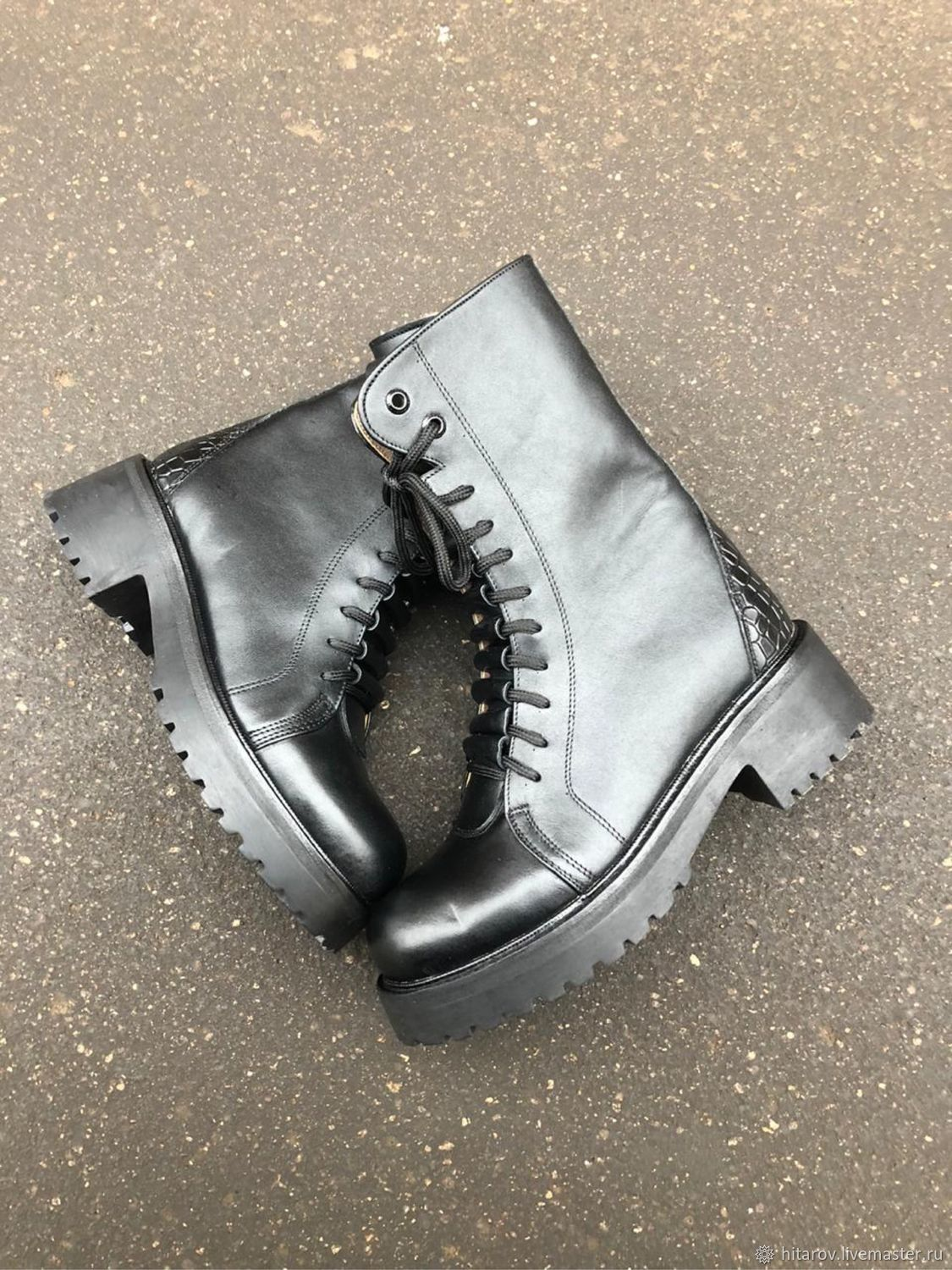 Bandolier ' black/black with a yellow tint black tread sole», Boots, Moscow,  Фото №1