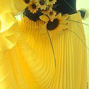 """Одежда ручной работы. Ярмарка Мастеров - ручная работа Юбка """"Мирабель"""" желтая солнцеклеш гофре. Handmade."""