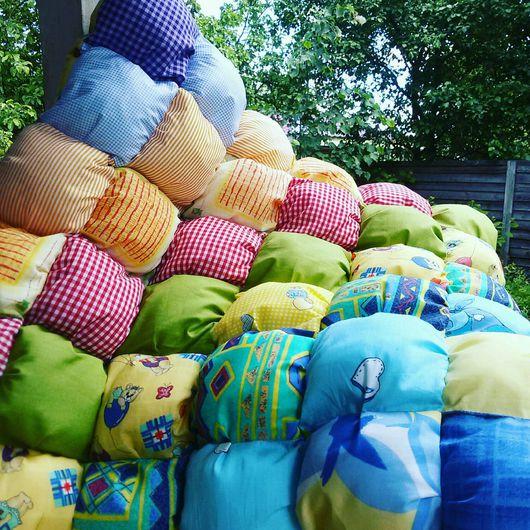 Текстиль, ковры ручной работы. Ярмарка Мастеров - ручная работа. Купить Подушка-пуфик Яркое радужное лето в деревне. Handmade.