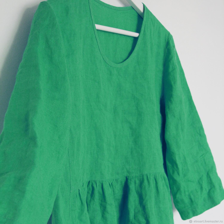 Зеленая бохо-блузка из 100% льна, Блузки, Томск,  Фото №1