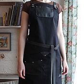 Для дома и интерьера ручной работы. Ярмарка Мастеров - ручная работа Черный фартук для бармена, для бариста, для художника FK-031. Handmade.