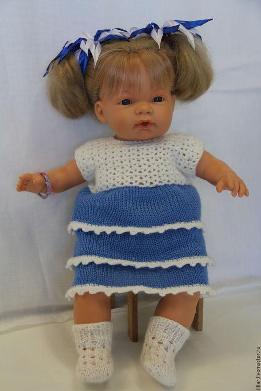 """Одежда для кукол ручной работы. Ярмарка Мастеров - ручная работа. Купить Платье """"Волна"""". Handmade. Синий, вязание спицами"""