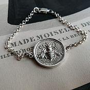 handmade. Livemaster - original item Chain bracelet with bee silver 925 coin. Handmade.